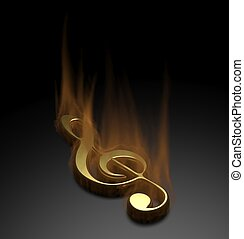 Fire music note on black background