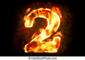 Fire number 2 of burning flame light, 3D rendering