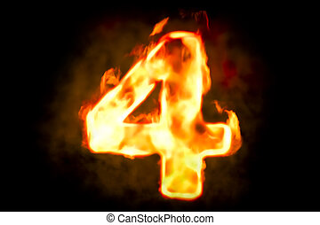 Fire number 4 of burning flame light, 3D rendering