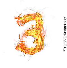 Fire number isolated on white background