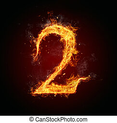 Fire number on black background