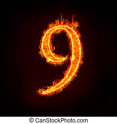 a series of fire numbers in flame, 9 or nine.