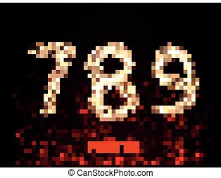 Fire numbers. Room 456 in the flame against a dark background