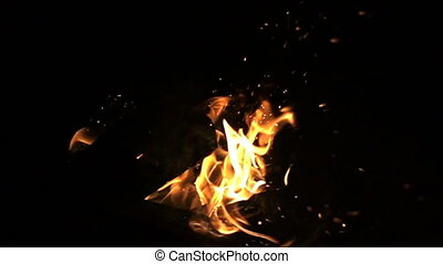 Fire on a black background, slow motion video, slow motion, duplication on chromakey