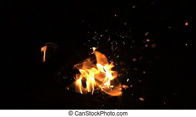 Fire on a black background, slow motion video, slow motion