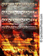 Fire on electric board