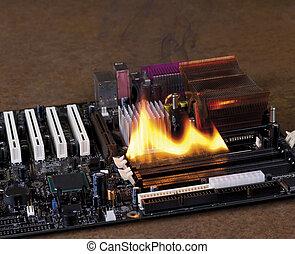fire on electronic board