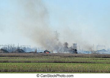 Fire on irrigation canals