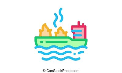 fire on ship Icon Animation