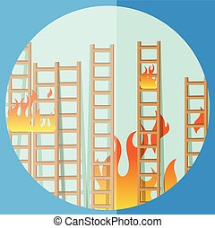 Fire on Stairs Vector Illustration