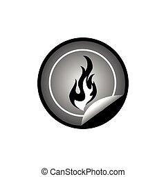fire on sticker badge