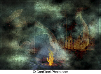 Fire on Water - Abstract composition. Fire burn on water...