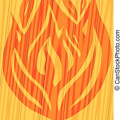 fire on wooden background Vector illustration