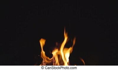 Fire over black, with crackling sound, loopable