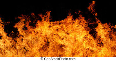 Very large file of stop motion real flames against a black background