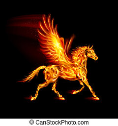 Fire Pegasus. - Fire Pegasus in motion on black background.