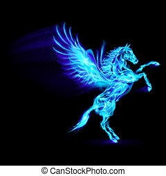 Fire Pegasus. - Blue fire Pegasus rearing up. Illustration...