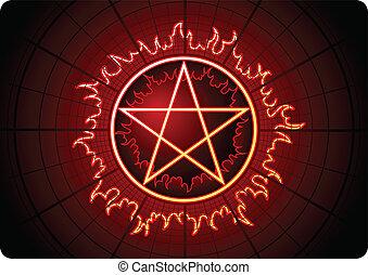 Fire Pentagram with grid on dark background