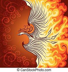 Fire Phoenix - Decorative illustration of flying phoenix...