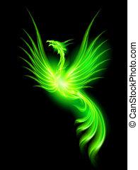 Fire Phoenix. - Illustration of green fire Phoenix on black ...
