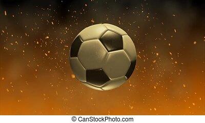fire., piłka nożna, ogień, glow., piłka