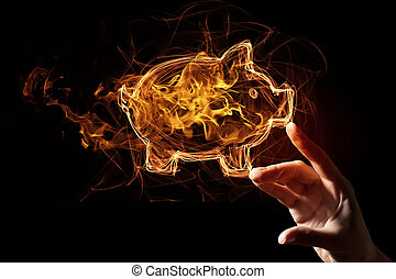 Fire piggy bank icon