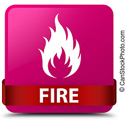 Fire pink square button red ribbon in middle