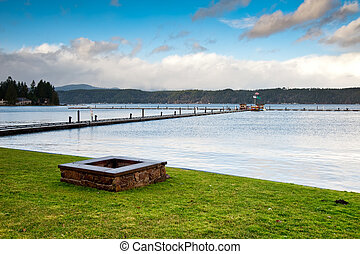 Fire pit and Hood Canal - Fire pit and pier near Hood Canal,...