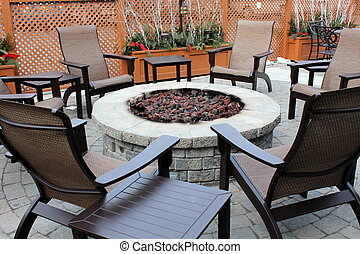 Fire pit and outdoor furniture - Stone fire pit and outdoor...