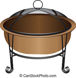 Fire Pit - The copper fire pit with protective netting....
