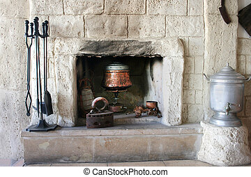 Fire-place in old house - Vintage fire-place with kitchen ...