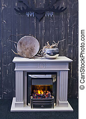fire place with horn - detail of inerior with fire place and...