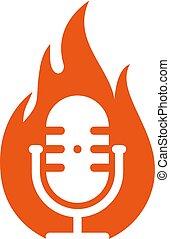 Fire Podcast Logo Icon Design