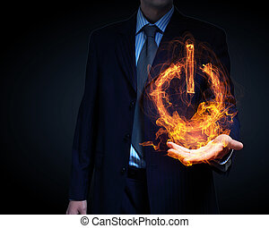 Glowing fire power icon of interface on dark background
