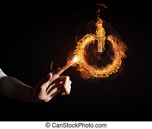 Fire power button - Glowing fire power icon of interface on...