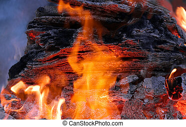 Fire Power - Fire with logs, flame, charcoal and embers