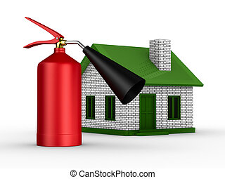 Fire-prevention protection of house. Isolated 3D image