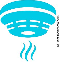 Fire prevention smoke detector symbol on white background