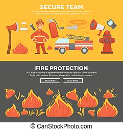 Fire protection and firefighter team of fire security instruction web banners flat design template