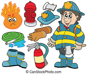 Fire protection collection - vector illustration.