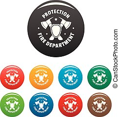 Fire protection department icons set color
