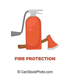 Fire protection extinguisher and axe vector flat icon for information and firefighting instruction design template
