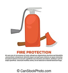 Fire protection information and firefighting instruction vector flat poster design template