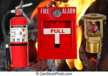 fire protection over flame background - fire protection...