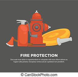 Fire protection promotional poster with special equipment set