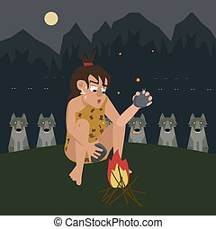fire protects a caveman from predator vector cartoon