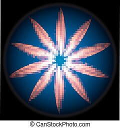 Fire rays on dark blue circle light