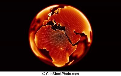Fire red globe rotating on black background. Looping animation.