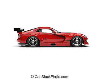 Fire red super car - side view
