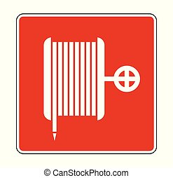 Fire Reel Hose Floor Sign on white background